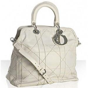 Granville Cristian Dior Bag white cannage lambskin 'Granville' medium tote